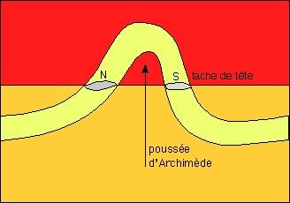 Schéma: tube magnétique émergeant