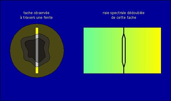 Schéma: effet Zeeman sur une tache solaire
